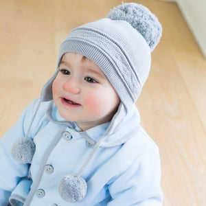 Emile et Rose Griffin Baby Knit Bobble Hat with Ear Flaps Grey
