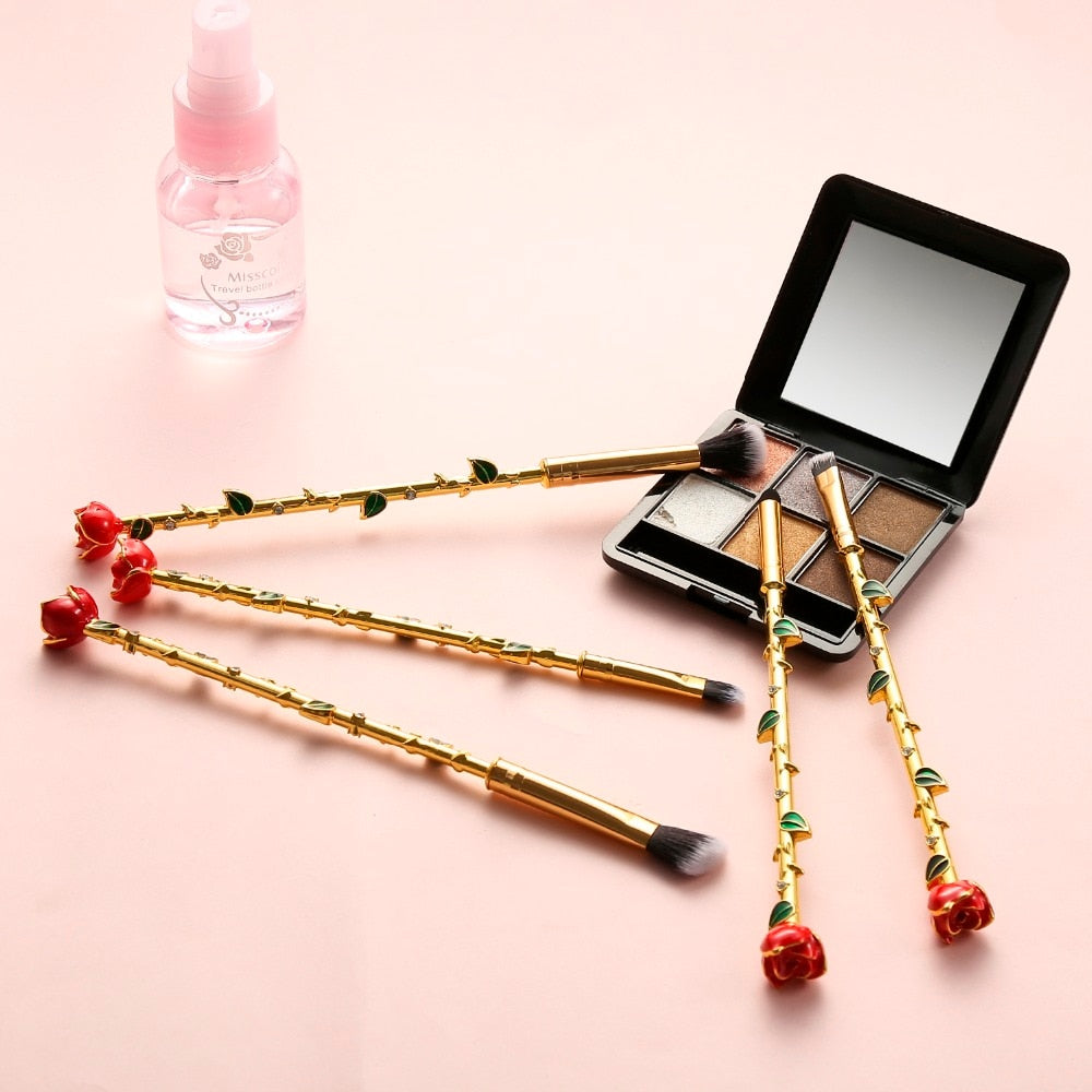 2021 Beauty and the Beast Rose Makeup Brushes Set - Panashe Essence
