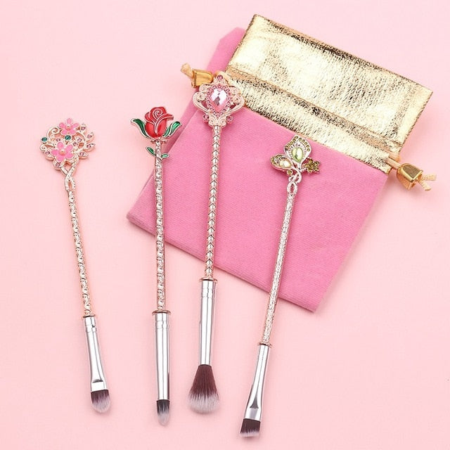 New Beauty and the Beast Rose Flower Makeup Brushes Set - Panashe Essence