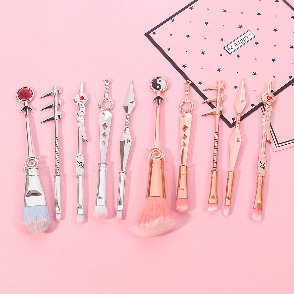 Limited edition 2021 Rose gold/Silver Classic  Naruto Anime  Makeup Brush Set - Panashe Essence