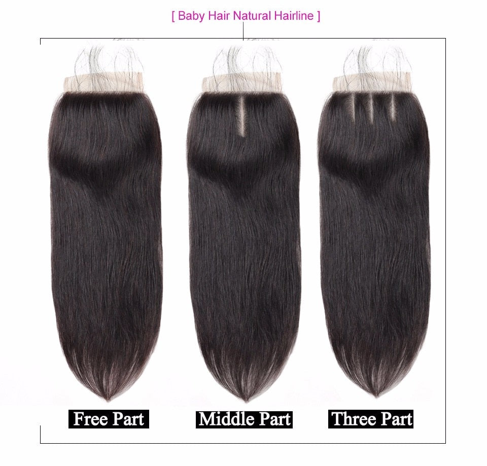 Peruvian Human Hair Bundles With Closure, 4x4 inch (MIDDLE PART) - Panashe Essence
