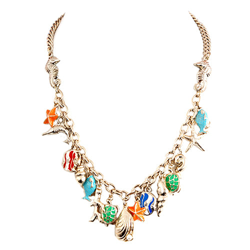 Under the Sea Multi Charm Gold Necklace