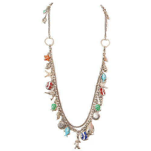 """Under the Sea"" Multi Charm Gold Chain Long Necklace"