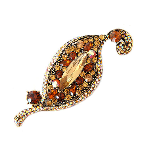 Topaz Mixed Glass Crystal Geometric Design Gold Pin