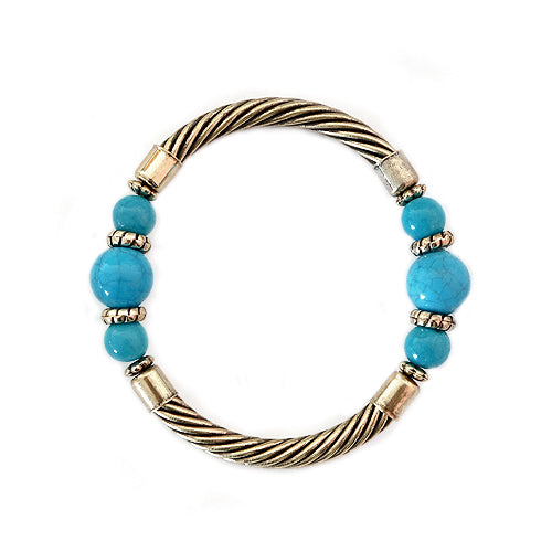 Turquoise Bead Gold Cable Stretch Bracelet