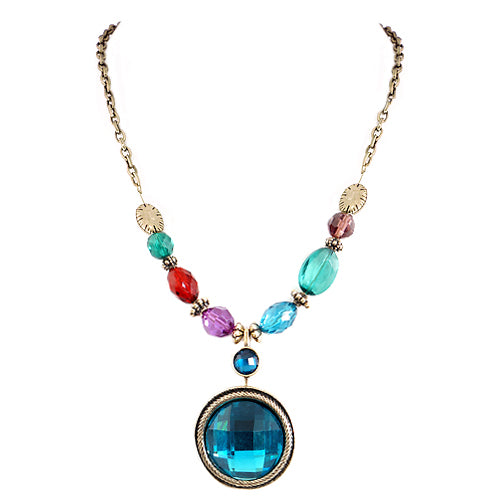 Turquoise Glass Crystal Round Pendant with Multi Beads Gold Chain Necklace