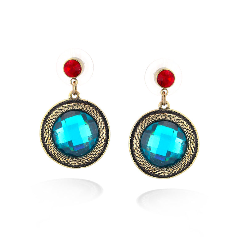Gold-Tone Metal Blue And Red Stone Earring