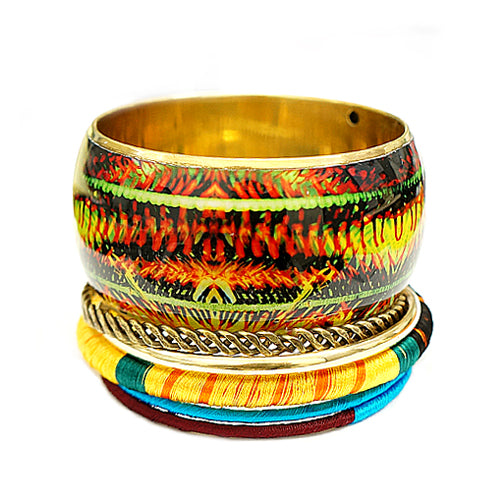 Multi Painting with Thread Cotton Bangles Set of 6PCS
