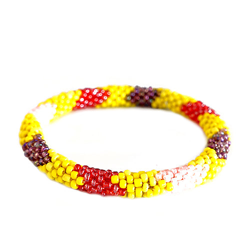 Yellow and Pink Mixed Hand beaded Roll on Bracelet