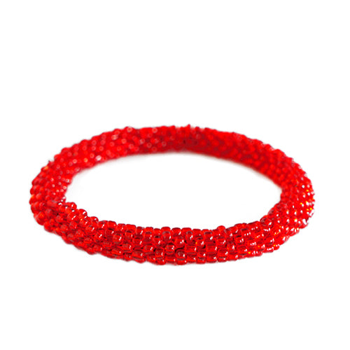 Red Handbeaded Roll on Bracelet