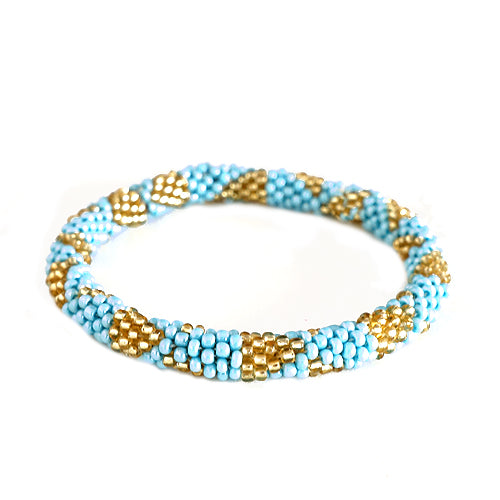 Turquoise and Gold Mixed Hand beaded Roll on Bracelet
