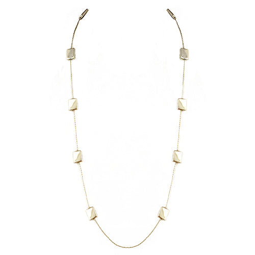 Gold Rectangle Beads Long Necklace