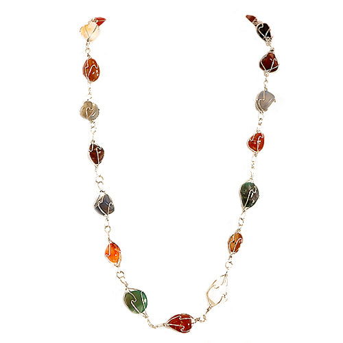 "Approx. length: 32"" Multi Color Stone with Coil a Wire Around Long Necklace"