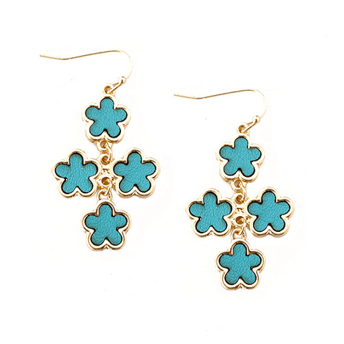 Turquoise Five Leaf Four Flowers Gold Earrings