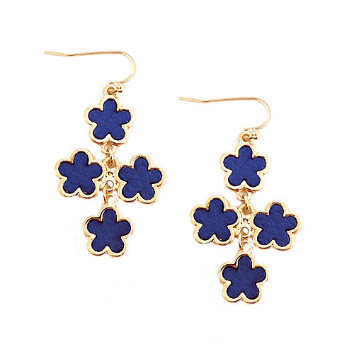 Royal Blue Five Leaf Four Flowers Gold Earrings