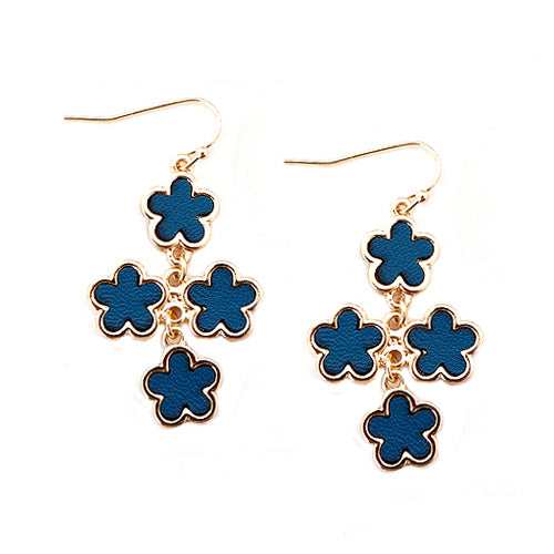 Teal Five Leaf Four Flowers Gold Earrings