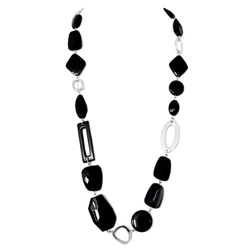 Black Multi Cut Bead with Silver Metal Long Necklace