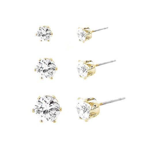 Simple Round Cut Clear Glass Crystal  Gold Earrings Set of 3pcs