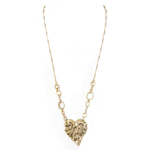 Gold Foil Heart Pendant Long Necklace