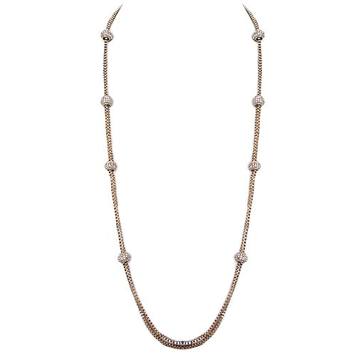 Gold Fireball Two-Strand Chain Long Necklace