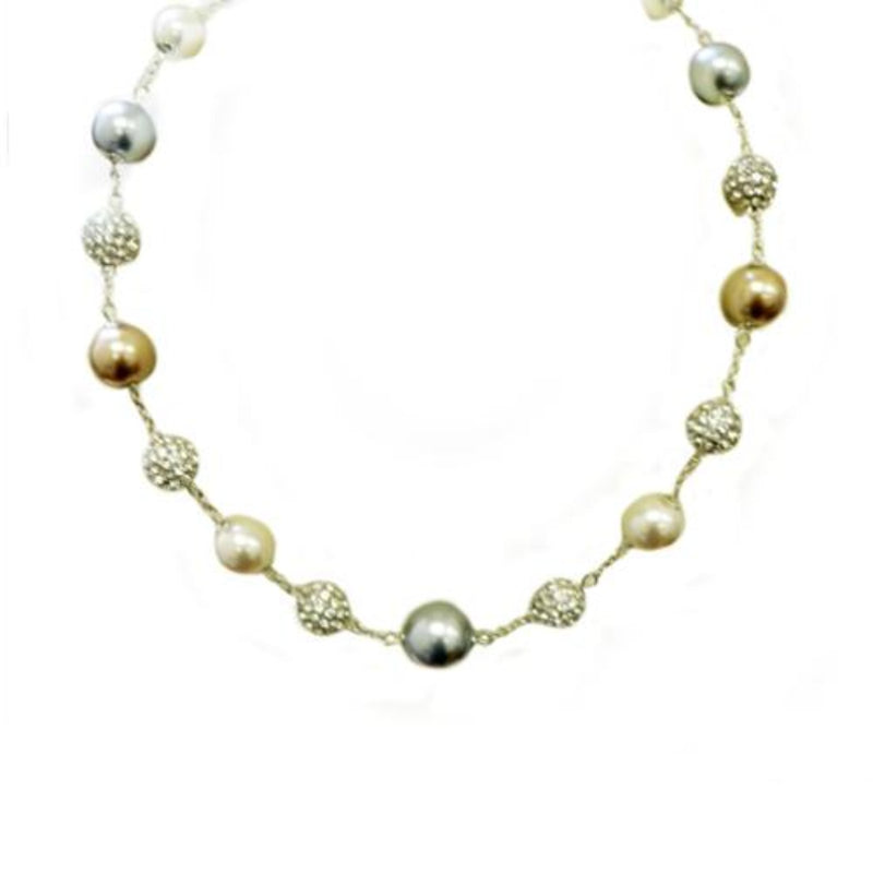 Brown blue pearl shambala necklace