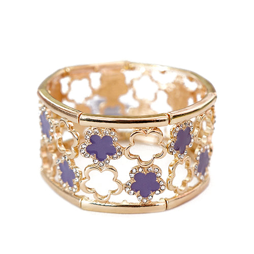Five Leaf Purple Flower with Rhinestone Two Line Gold Stretch Bracelet