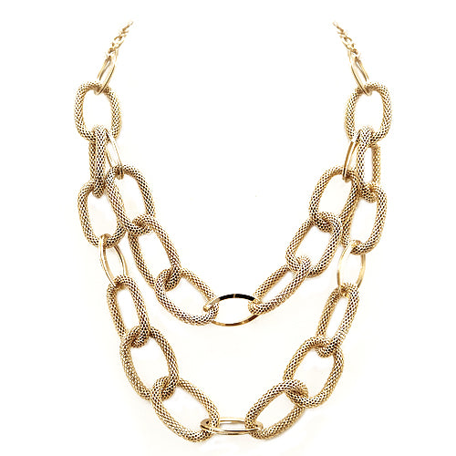 Gold Mesh Linked Chain Necklace