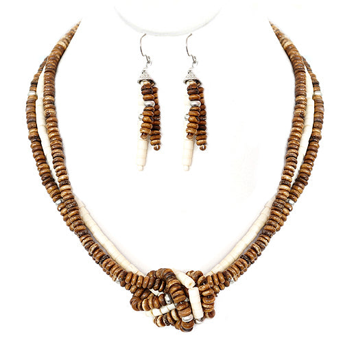 Brown and Natural Beaded Twist Necklace and Earrings Set