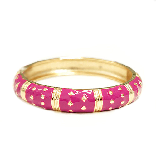 Fuchsia Enmel Gold Metal Decorated Hinged Bracelet