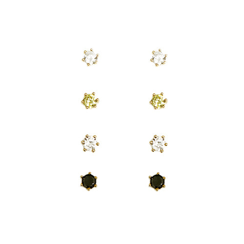 Clear Lime Black Round Earrings Set of 4pcs