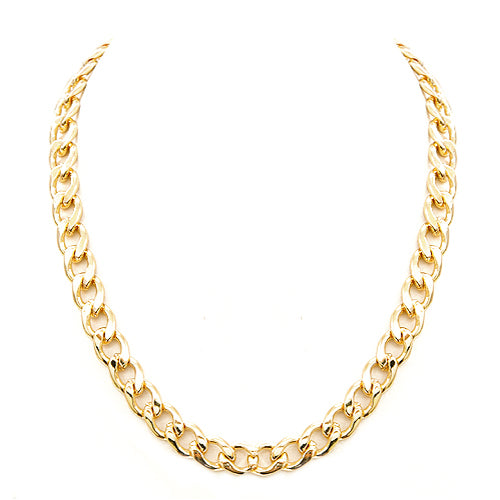Shiny Gold Metal Linked Chain Necklace