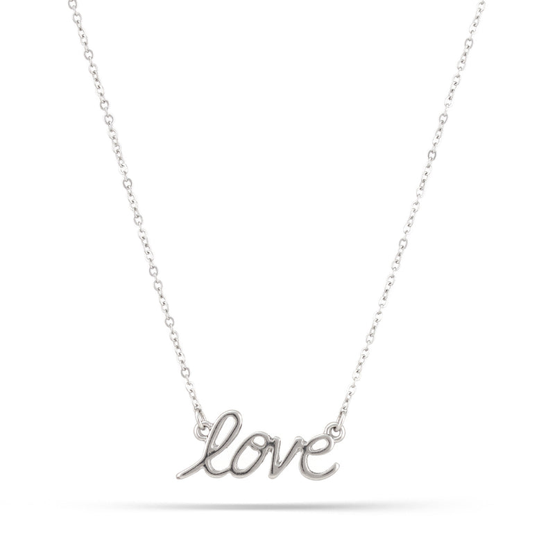 Rhodium Tone Love Necklace