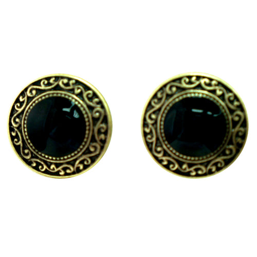 Black round earrings with gold outline