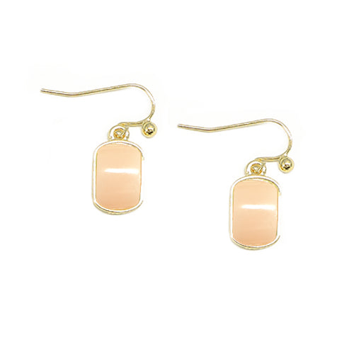 Baby Pink Rectangle Shape Beaded Gold Earrings