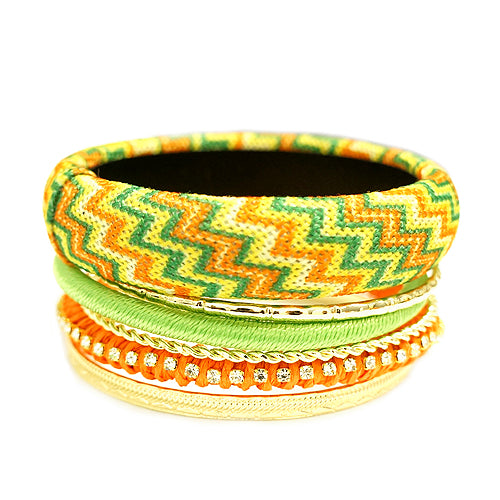 Green and Orange Mixed Chevron Cotton with Gold Bangles Set of 7pcs
