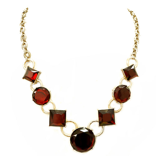 Round and Square Mixed Red Glass Crystal Gold Necklace
