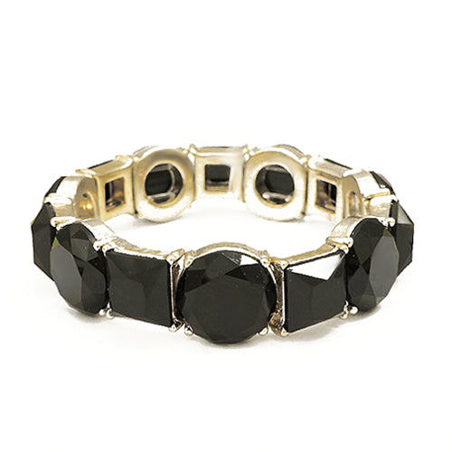 Round and Square Mixed Jet Glass Crystal Gold Stretch Bracelet