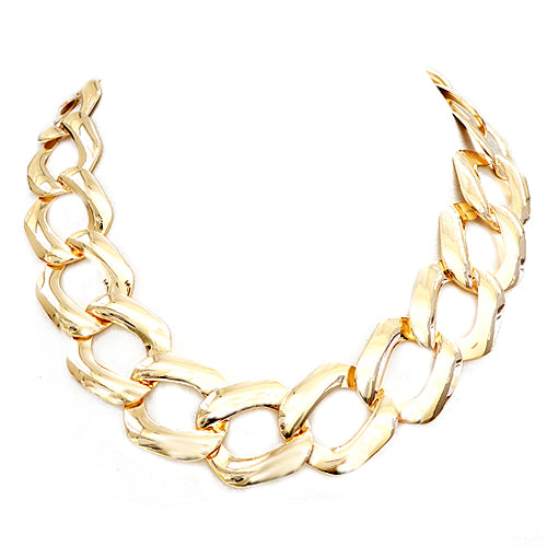 Shiny Gold Square Link Gold Chain Necklace