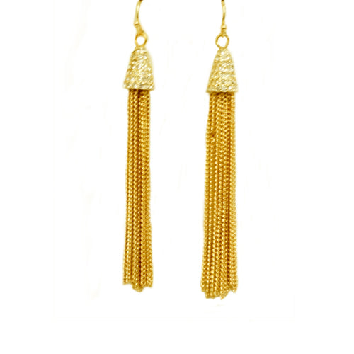Gold chain chandelier earrings with rhinestones