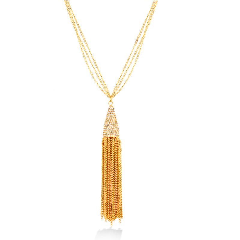Gold chained necklace with rhinestones on cone pendant