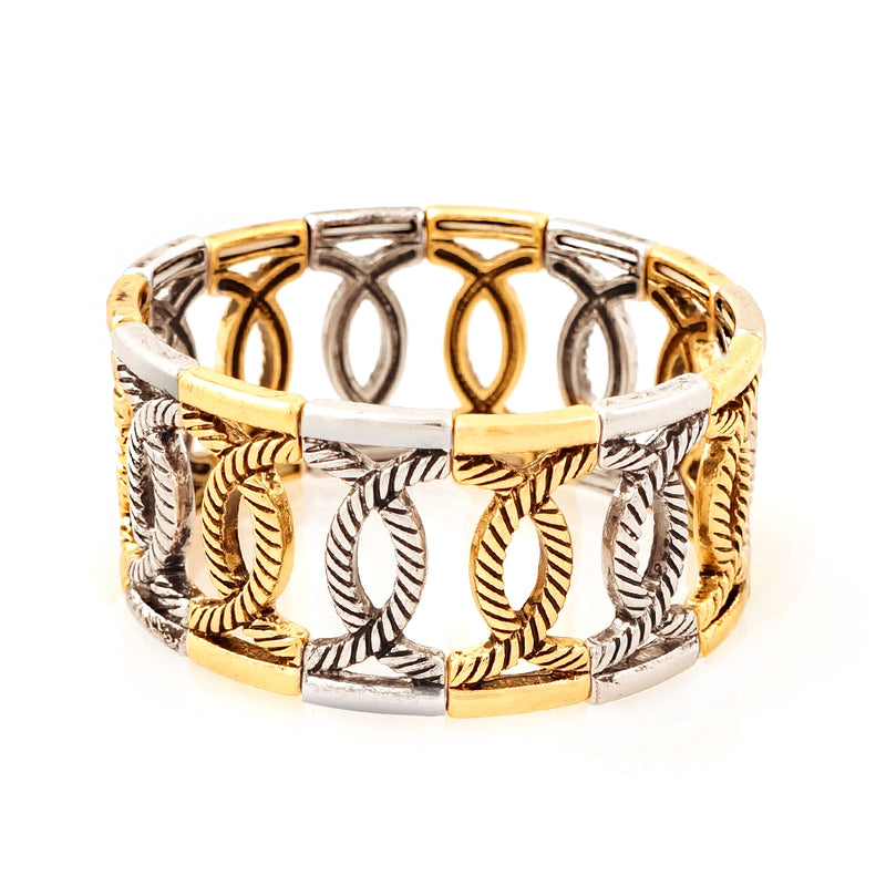 Gold and silver twisted loop stretch bracelet