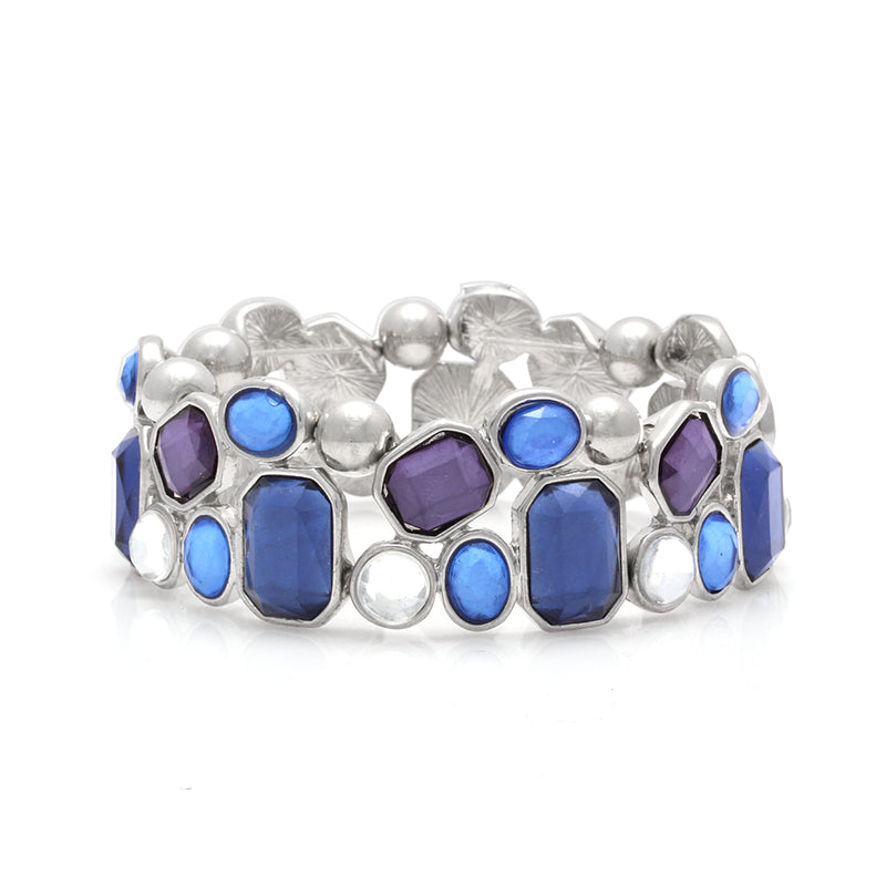 Silver-Tone Blue And White Stretch Bracelets