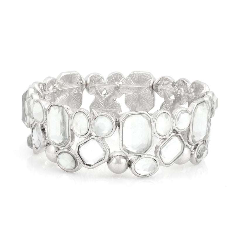 Silver-Tone White Crystal Stretch Bracelets