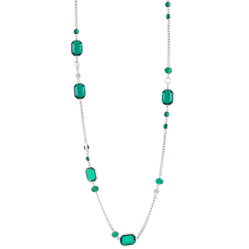 Rhodium-Tone Green Crystal Necklace