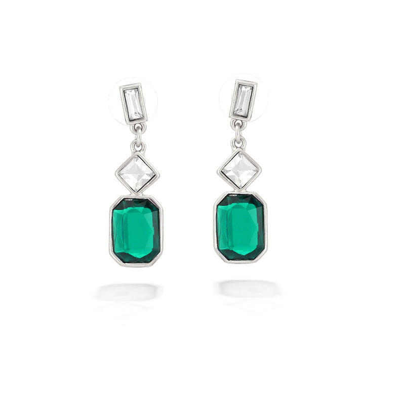 Silver-Tone Green And White Crystal Earrings