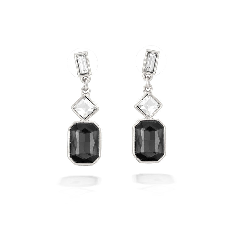 Silver-Tone Metal White Crystal And Black Earrings