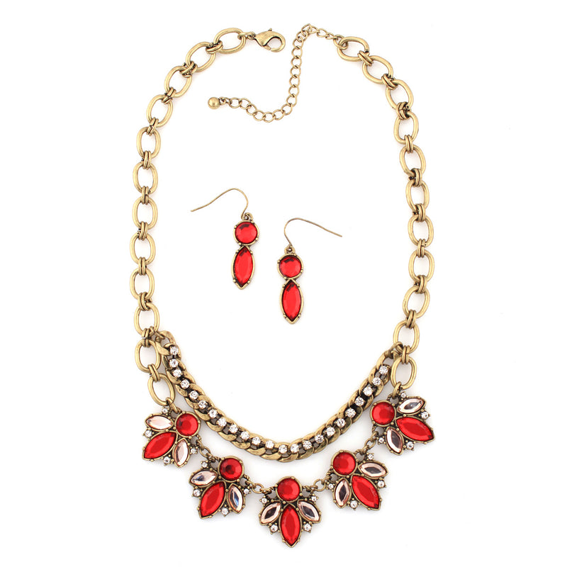 Gold-Tone Metal Coral Crystal Necklace And Earring Set