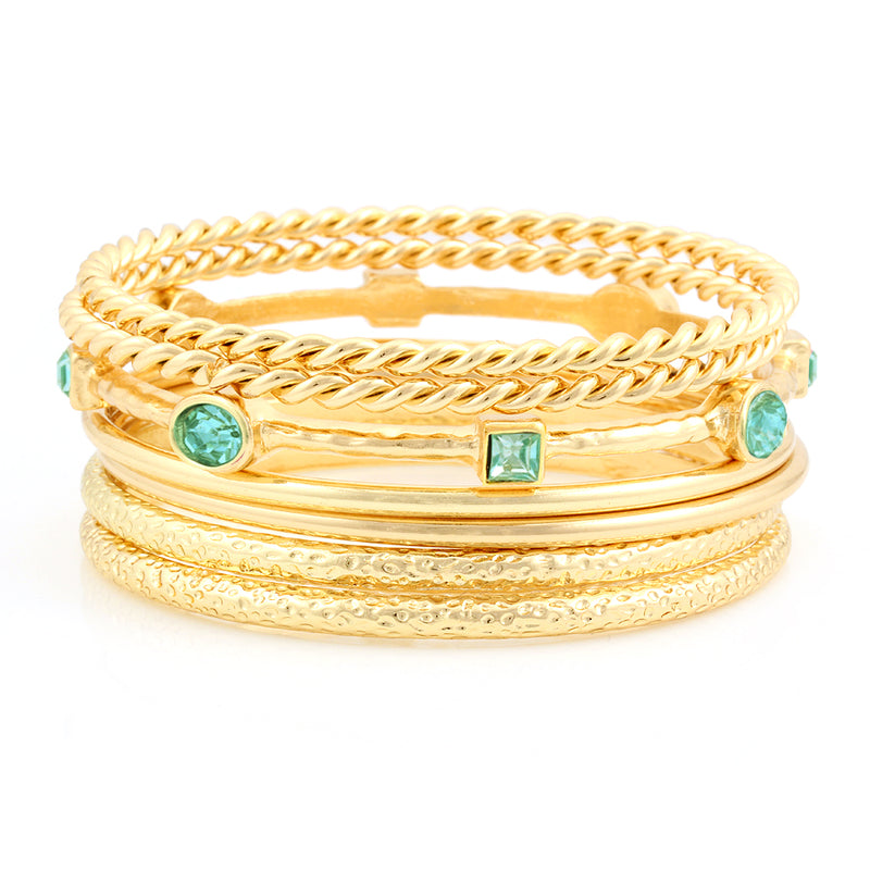 Gold-Tone Aqua Blue Set Of 7 Bangles