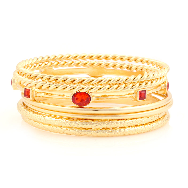 Gold-Tone Red Set Of 7 Bangles