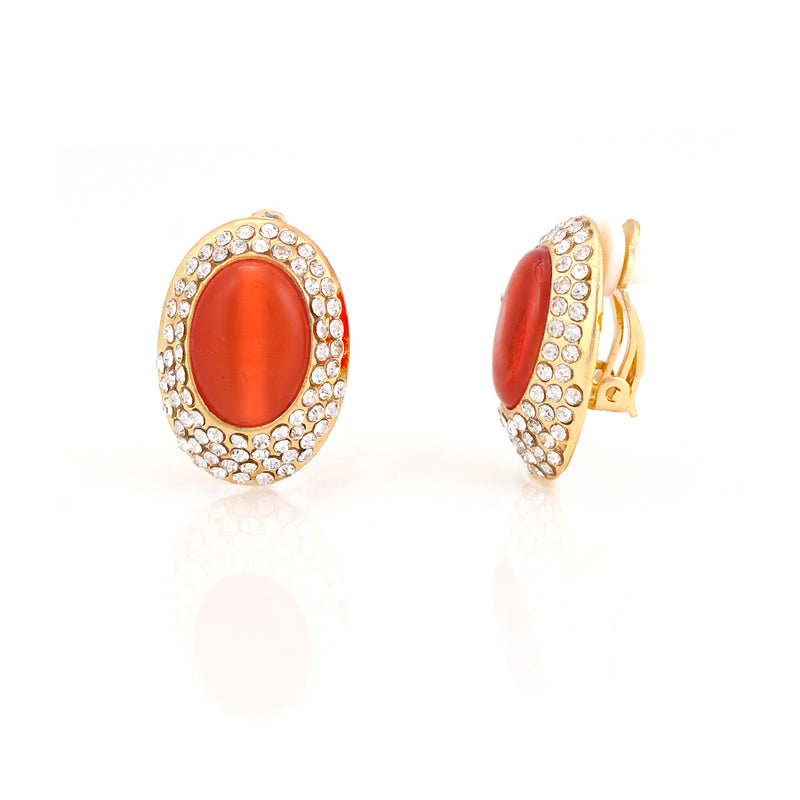 Gold-Tone Metal Crystal With Orange Acrylic Glass Stone  Earrings